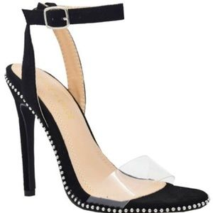 Ankle Strap Clear Band Stiletto Heels